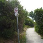 Dog walking area sign on the Owens Walkway in Redhead (391130)