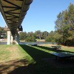 Picnic area under a large pipe bridge (77416)